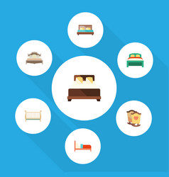 flat bedroom set of bedroom cot furniture and vector image