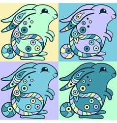Cute bunnies in ethnic style vector