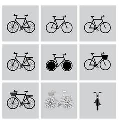 black bicycle icon set vector image