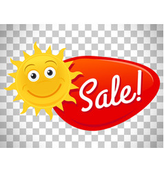 Summer sale label with smiling sun vector
