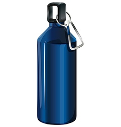A blue bottle with a keychain vector