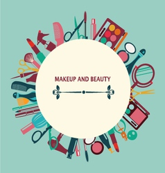 Set of makeup and beauty elements pattern vector