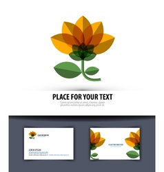 Flower logo icon emblem template business card vector