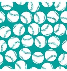 White baseball icons on green background seamless vector