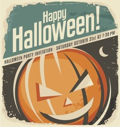 Retro poster template with halloween pumpkin head vector