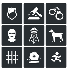 Prison icons set vector