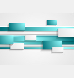 Cyan and white rectangles and stripes tech vector