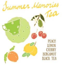 Delicious autumn summer memories tea recipe vector