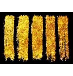 Golden glitter brush strokes set isolated on black vector