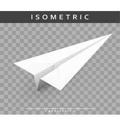 Realistic paper airplane in the isometric view vector