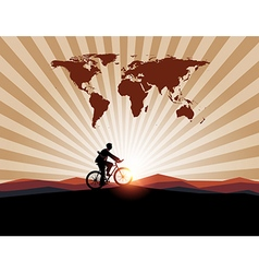 Businessman ride bicycle with worldman on mountain vector
