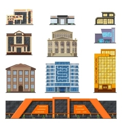 Flat style modern classic municipal buildings vector