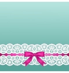 White lace and pink bow vector image