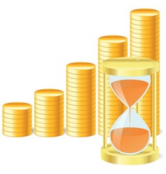 Money icon with hourglass and coins vector