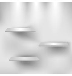 Three empty white shelves vector image