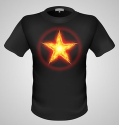 T shirts black fire print man 07 vector