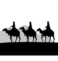 three wise men on camels icon graphic vector image