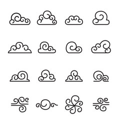 abstract cloud chinese cloud curl cloud icon set vector image