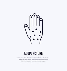 Acupuncture flat line icon logo vector