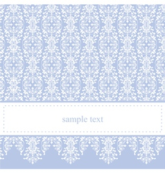 Blue card or invitation with classic floral lace vector