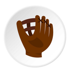 Brown leather baseball glove icon circle vector
