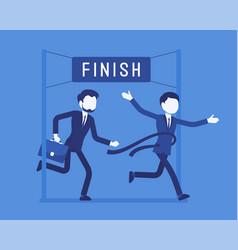 Businessmen at finish line vector