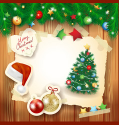 christmas background with paper elements and fir vector image vector image