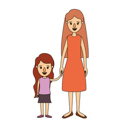 Color image caricature full body mother in dress vector