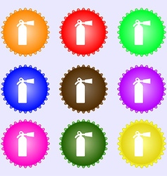 extinguisher icon sign A set of nine different vector image