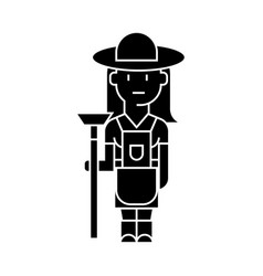 farmer woman icon sign o vector image