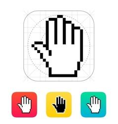 Five fingers Pixel hand cursor icon vector image