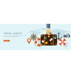 Flat travel background Map vector image vector image