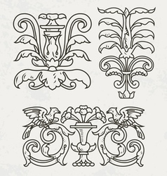 Floral style design elements vector image vector image