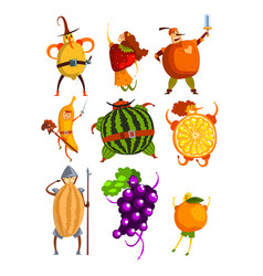 Funny fruits cartoon characters set people in vector