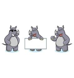 Gray rhino mascot happy vector