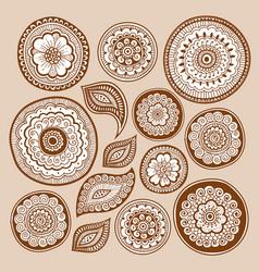 Henna tattoo doodle elements zentangle method vector