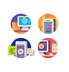 Internet technology icons vector image vector image