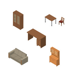 Isometric furnishing set of cupboard cabinet vector