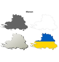 Kherson blank outline map set vector