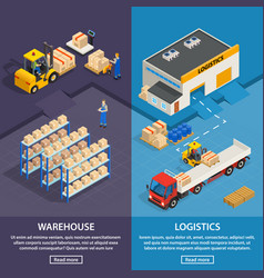 logistics and warehouse vertical banners vector image
