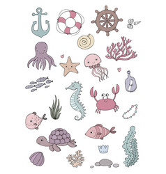 Marine set little cute cartoon vector