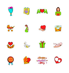mothers day icons set cartoon vector image