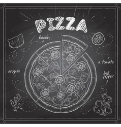 Pizza with bacon scetch on a black board vector
