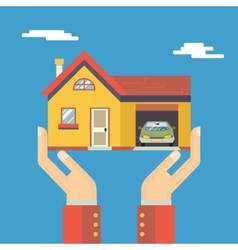 Retro Human Hands with House Real Estate Modern vector image vector image