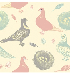 Retro Pigeons Pattern vector image vector image
