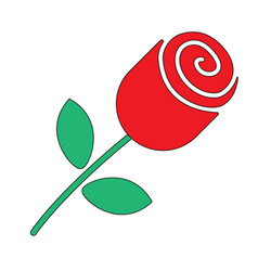 rose flower in flat style vector image vector image