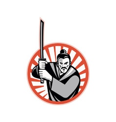 Samurai Warrior Sword Retro vector image vector image