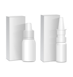 Set of spray nasal or eye antiseptic drugs white vector