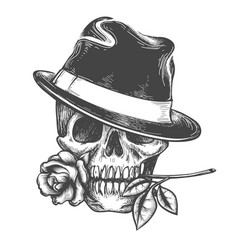 skull in hat with rose flower vector image