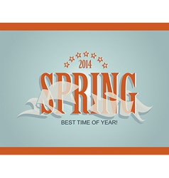 Spring word ribbon and stars vector image vector image